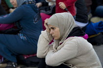 21-09-2015 - Thousands of refugees wait at the Tovarnik, Croatia border crossing. Serbia. © Jess Hurd