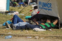 22-09-2015 - Exhausted refugees wait to access the overcrowded Opatovac refugee camp. Croatia. © Jess Hurd
