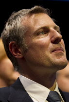 10-06-2015 - Zac Goldsmith listening to Boris Johnson speaking at Conservative Party Conference, Manchester. © Jess Hurd