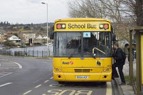 20-03-2007 - Pupils getting on a Yellow School Bus. Southampton © Paul Carter