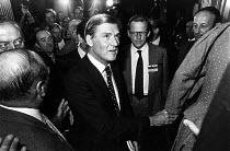 13-10-1983 - Cecil Parkinson about to walk onto the conference platform. Along with Tom King (R) at the Conservative Conference, Blackpool. After the public revelation of Sara Keays pregnancy and of their twelve-y... © John Sturrock