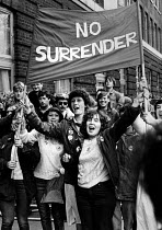 10-10-1984 - Miners Strike 1984, No Surrender! Miners wives protest as the first talks take place between the NUM and the NCB. © John Sturrock