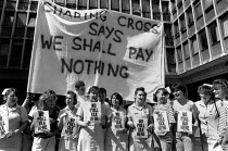 01-07-1989 - We shall pay nothing Student nurses Poll Tax Protest 1989, Charing Cross Hospital London © John Sturrock