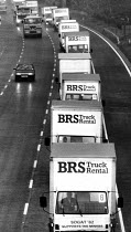29-05-1984 - Miners strike: food aid convoy from trades unions, 23 3-ton trucks with �100,000 worth of food and goods donated by various trade unions (NGA, SOGAT, USDAW, AUEW, TASS, TGWU), on route from London des... © John Harris