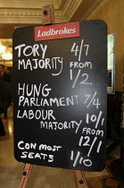 28-02-2010 - Ladbrokes political betting blackboard showing the odds on a majority and on a hung parliament. Conservative Spring Forum. Brighton. © Justin Tallis