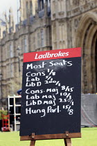 06-04-2010 - Ladbrokes political betting blackboard outside The Houses of Parliament Westminster, London. © Justin Tallis