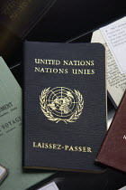 25-08-2010 - 1971 United Nations Passport on display at the Passport Office in London. © Justin Tallis
