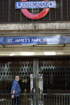 07-09-2010 - A man walks past St James Park underground station during a strike by RMT and TSSA tube workers against job losses, London. © Justin Tallis