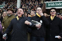 16-03-2011 - Two men cheering on a winner during a race at Cheltenham Racecourse. © Justin Tallis