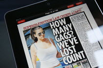23-04-2011 - A story in the Sun newspaper iPad digital online edition about the amount of super injunctions (which ban the reporting of the existence of an injunction) imposed by judges giving anonymity and preven... © Justin Tallis
