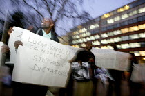 18-03-2009 - Protest outside the London School of Economics over the former president of Nigeria, Olusegun Obasanjo, being invited to give a lecture on the unrest in the Democratic Republic of Congo (DRC). © Justin Tallis