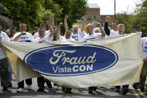 18-05-2009 - Ford Fraud. Sacked workers from the car components firm Visteon leave their plant for the final time after a settlement was agreed. Enfield, North London. © Justin Tallis