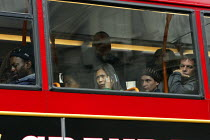 10-06-2009 - Commuters standing up on the top deck of a bus during the RMT tube strike. London Victoria Station. © Justin Tallis