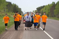 31-05-2014 - Ashland, Wisconsin - Members of the Bad River Band of the Lake Superior Chippewa Tribe march 42 miles around the Bad River watershed to show their opposition to the plan by Gogebic Taconite for a huge... © Jim West