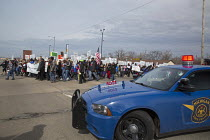 03-04-2015 - Inkster, Michigan - Hundreds marched to protest the beating of Floyd Dent, an African-American auto worker, by white Inkster police officers. The beating was captured on a police car's video camera an... © Jim West