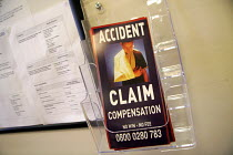 12-04-2005 - Literature and cards left by a 'no win no fee' solicitors firm at the reception to Newcastle General Hospital. 12/4 2005. © Mark Pinder