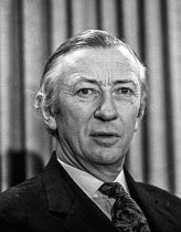 12-02-1974 - Robert Carr MP, Employment Secretary in the Conservative government at an election press conference. He introduced the 1971 Industrial Relations Act, which restricted right to strike and virtually abo... © NLA
