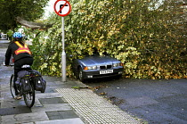 28-10-2013 - A cyclist rides past a tree that has fallen onto a parked car. The morning after the storm in Brighton and Hove, East Sussex. © Nick Rain