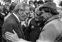 23-05-1984 - Striking miners lobbying Moss Evans, 1984 TUC conference. Gen Sec of the TGWU. © Peter Arkell