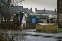 08-11-1984 - Mounted police charge striking miners, 1984 Hatfield Main colliery, South Yorkshire © Peter Arkell