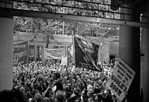 27-07-1972 - Docks strike 1972. Lobby of the Docks Delegates meeting at Transport House to demand a national dock strike. The meeting was held the day after the Pentonville 5 were released from prison. Dockers tur... © Peter Arkell