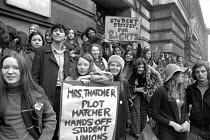 08-12-1971 - Students join the TUC Day of action against the anti-union laws of the Heath government. London © Peter Arkell