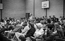 22-06-1979 - Blair Peach (second from L, front row -with beard) at a meeting to oppose the closure of Robert Montefiore school, Whitechapel, East London, 1979 less than a year before he was killed by a blow to the... © Peter Arkell