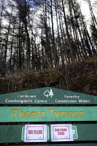 15-02-2011 - Afan forest, South Wales. Phytophthora ramorum - a devastating fungal pathogen - is causing widespread damage to trees in the UK. It is affecting japanese larch in this area. A sign warning of tree fe... © Paul Box