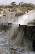 27-10-2002 - Waves crash over sea wall, Clevedon, near Bristol during a storm © Paul Box