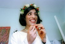 14-07-2000 - Bride getting ready for Asian wedding. London © Paul Box