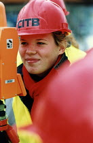 01-11-2003 - Sixth form pupils from Bristol take part in the CITB Construction Industry Training Board event. The event aims to encourage more women into the industry. Surveying © Paul Box