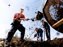 14-07-2002 - School project recycling garden waste - clippings etc to make compost. Hartcliffe Secondary Bristol © Paul Box