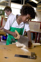 12-07-2006 - A pupil doing woodwork, at Clevedon community school. © Paul Box