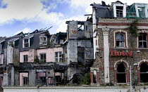 22-05-2005 - The burnt remains of Central Hotel, in central Cardiff. © Paul Box