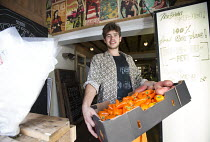 17-10-2014 - Sam Joseph the manager of The Bristol Skipchen: a Real Junk Food Project. A community food waste cafe operating on a pay-as-you-feel basis. Staffed entirely by volunteers the serve intercepted waste f... © Paul Box