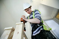 22-03-2012 - A carpenter fitting a bannister, new housing near Taunton, Somerset. © Paul Box