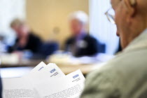 15-10-2012 - Members of the campaign against local privatisation of the NHS.The Board of NHS Gloucestershire attending an extraordinary meeting to decide whether Gloucestershire community health services will be r... © Paul Box