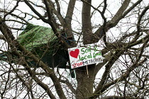 02-02-2015 - Protesters camp in trees to stop them being cut down and building on Stapleton allotments for the Metrobus new bus lane, Bristol. © Paul Box
