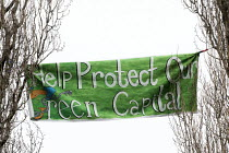02-02-2015 - Help protect our Green Capital. Protesters camp in trees to stop them being cut down and building on Stapleton allotments for the Metrobus new bus lane, Bristol. © Paul Box