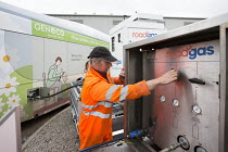 16-12-2014 - A worker filling up the bus with roadgas. The UKs first bus powered entirely by human and food waste, in service between Bristol and Bath. The 40-seat Bio-Bus runs on biomethane gas generated through... © Paul Box