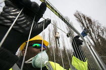 12-03-2015 - Bailiffs and security gards move in to evict Stapleton Allotment tree-top protesters, Bristol. The protesters are objecting to the building on allotments and cutting down of trees for the MetroBus. © Paul Box