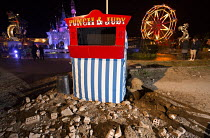 27-08-2015 - Dismaland a parody of Disneyland theme park by Banksy, Weston Super Mare. Jimmy Savile, Fifty Sades of Grey themed Punch and Judy by Julie Burchill at the Bemusement Park. © Paul Box