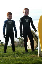 12-02-2004 - Boys in their wetsuits , Woolacombe in Devon © Paul Box