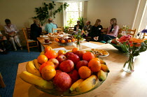 02-08-2004 - Bristol Cancer Help centre. Integrated health seminar. Discuss healthy food and dairy free diet. Bowl of fruit. © Paul Box