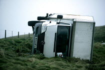 15-12-2005 - A lorry blown over on the A39 near Porlock after gales sweep the south West. © Paul Box
