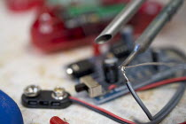 10-05-2006 - A circuit board and tester. © Paul Box