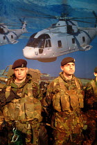 09-09-2003 - British soldiers on the Ministry of Defence stand at the Defence Systems and Equipment International Exhibition, EXCel, Docklands, London 9/9/03. © Philip Wolmuth