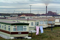 28-09-2004 - Mobile homes close to the Corus Teesside steelworks in Redcar © Philip Wolmuth