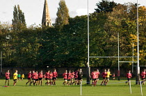 01-11-2005 - Rugby training on playing fields in Cricklewood, London, belonging to University College School for Boys. UCS is a private, fee-paying school. © Philip Wolmuth