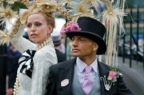 18-06-2009 - Louis Mariette, bespoke couture hat designer, outside the Royal Enclosure at Ascot racecourse on Ladies Day. © Philip Wolmuth